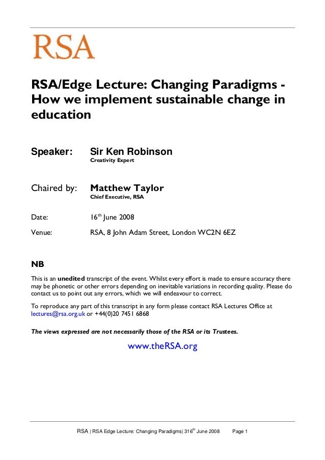 RSA | RSA Edge Lecture: Changing Paradigms| 316 th June 2008 Page 1 RSA/Edge Lecture: Changing Paradigms - How we implemen...