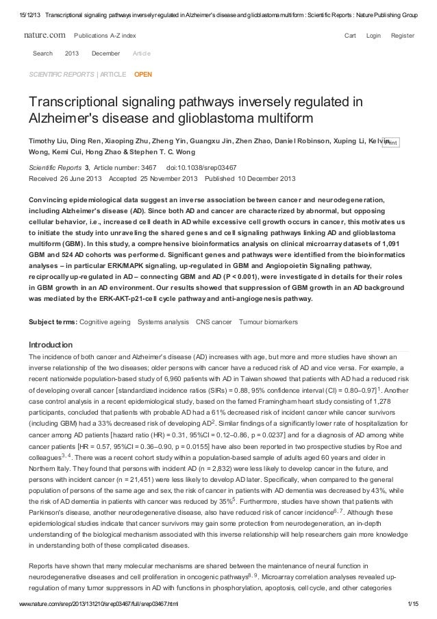15/12/13 Transcriptional signaling pathways inversely regulated in Alzheimer's disease and glioblastoma multiform : Scient...