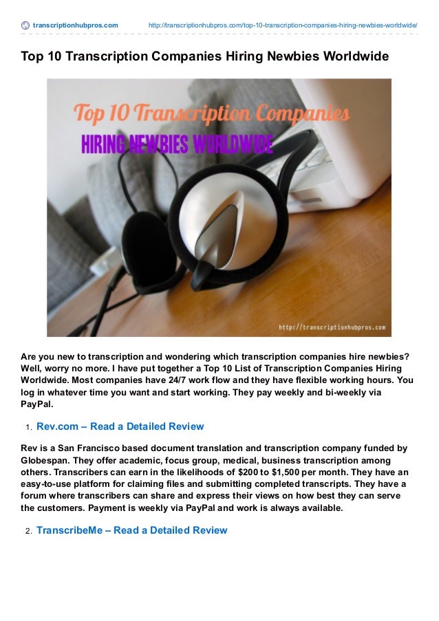 transcriptionhubpros.com http://transcriptionhubpros.com/top-10-transcription-companies-hiring-newbies-worldwide/ Top 10 T...