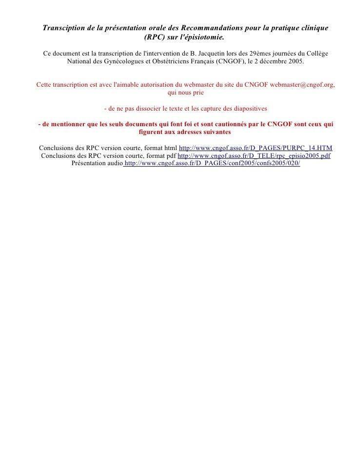 Transciption de la présentation orale des Recommandations pour la pratique clinique                                 (RPC) ...