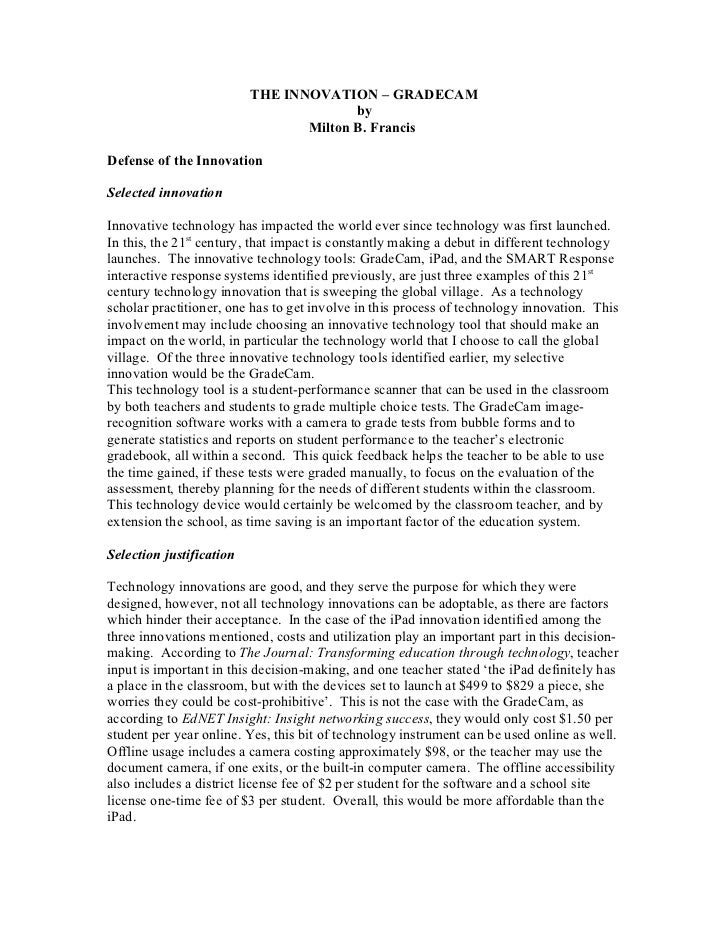 THE INNOVATION – GRADECAM                                        by                                 Milton B. FrancisDefen...