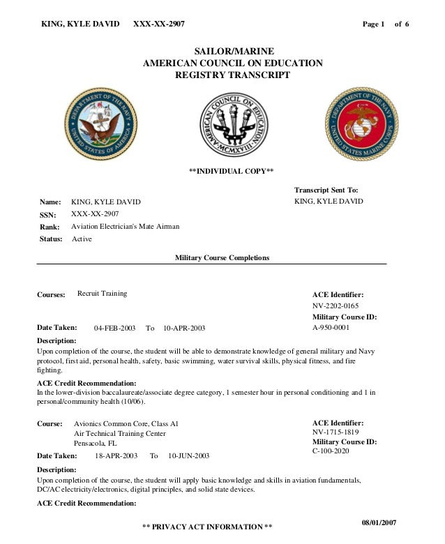 Page of1KING, KYLE DAVID XXX-XX-2907 08/01/2007 ** PRIVACY ACT INFORMATION ** 6 KING, KYLE DAVID XXX-XX-2907 Aviation Elec...