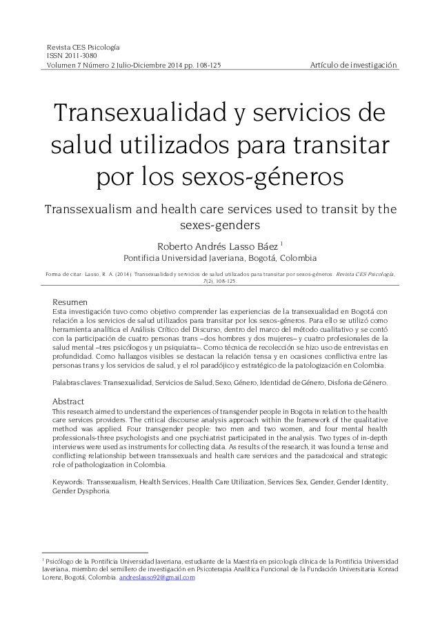 Revista CES Psicología ISSN 2011-3080 Volumen 7 Número 2 Julio-Diciembre 2014 pp. 108-125 Artículo de investigación Transe...