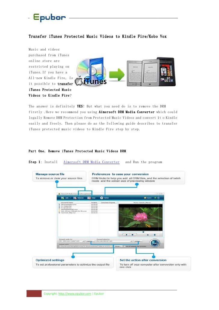 Transfer iTunes Protected Music Videos to Kindle Fire/Kobo VoxMusic and videospurchased from iTunesonline store arerestric...