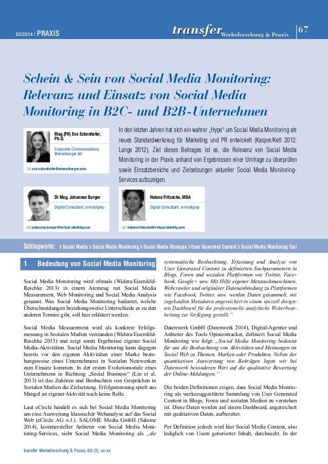 03/2014 | PRAXIS 67 Werbeforschung & Praxis transfer  Schein & Sein von Social Media Monitoring:  Relevanz und Einsatz von...