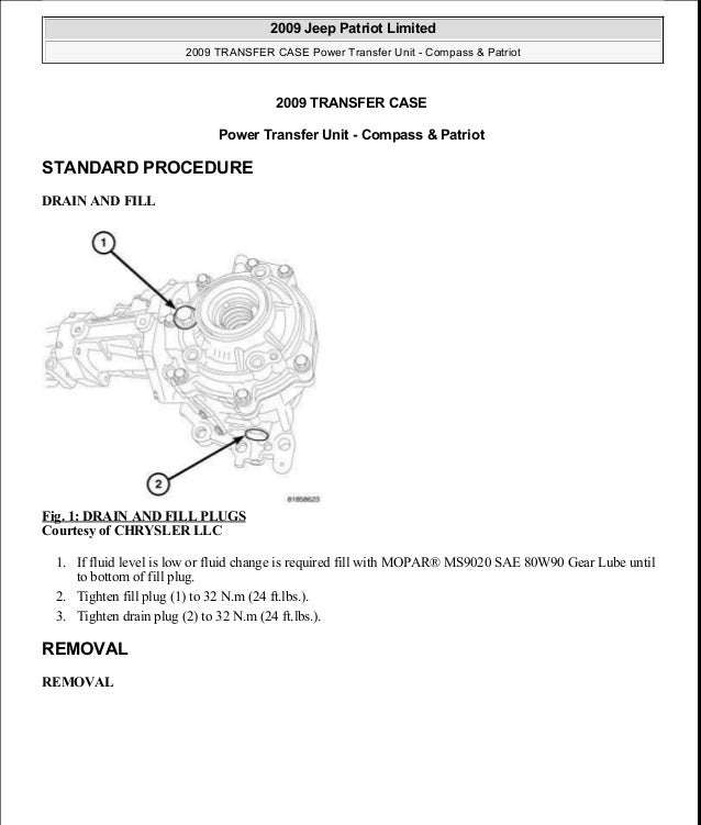 2011 jeep compass manual transmission fluid capacity