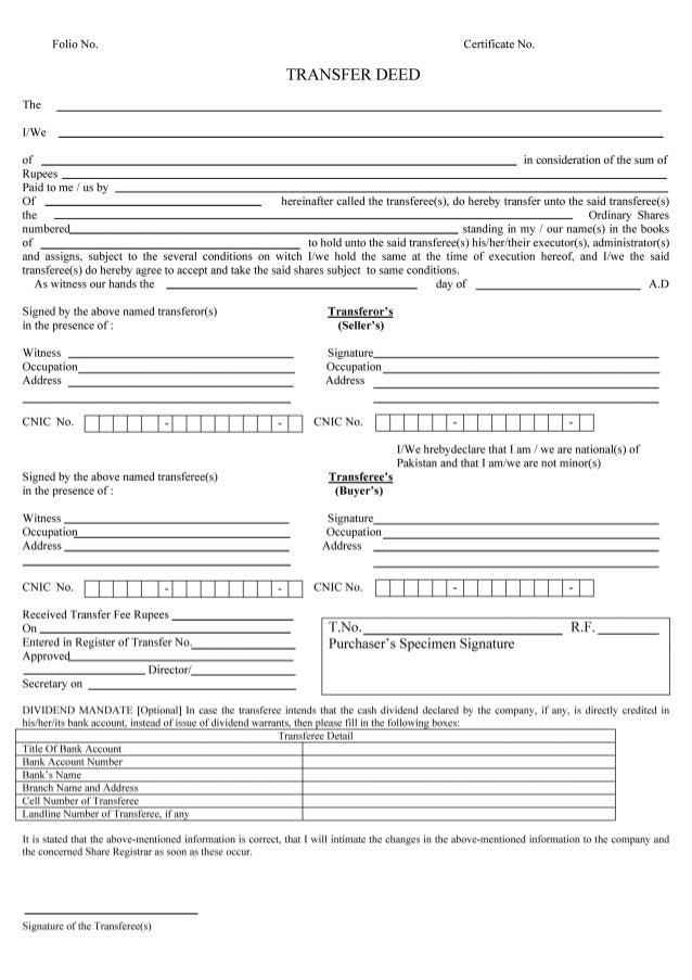 Transfer Of Shares Form Keninamas