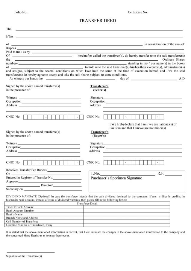 Shares transfer deed form karim virani for Deed of conveyance template