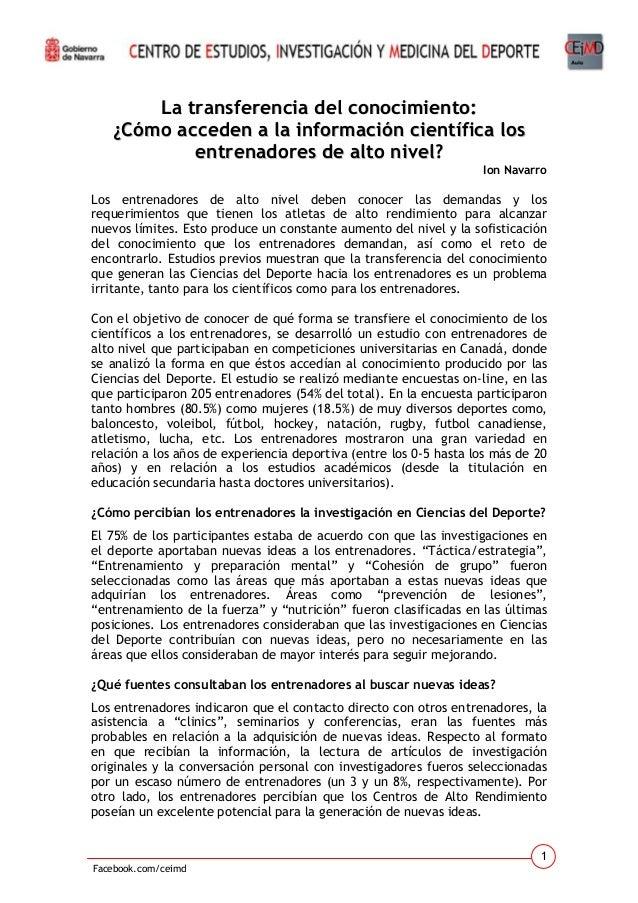 La transferencia del conocimiento: ¿Cómo acceden a la información científica los entrenadores de alto nivel? Ion Navarro  ...
