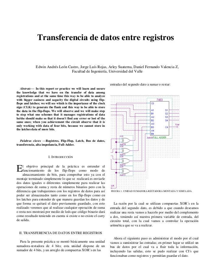 Transferencia de datos entre registros              Edwin Andrés León Castro, Jorge Luís Rojas, Arley Suaterna, Daniel Fer...