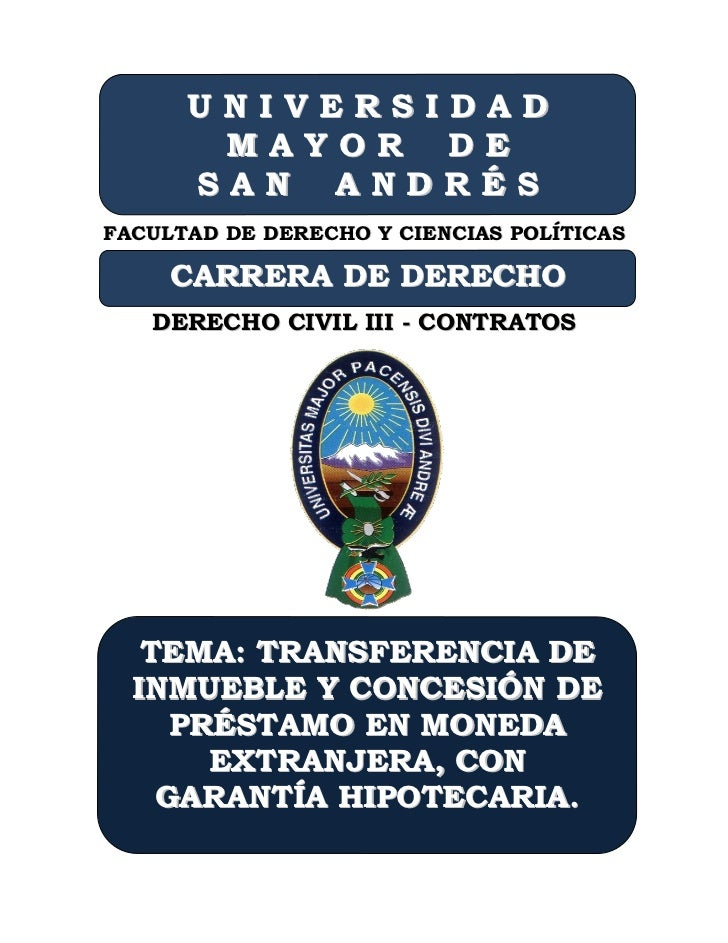UNIVERSIDAD       MAYOR DE      SAN ANDRÉSFACULTAD DE DERECHO Y CIENCIAS POLÍTICAS     CARRERA DE DERECHO   DERECHO CIVIL ...