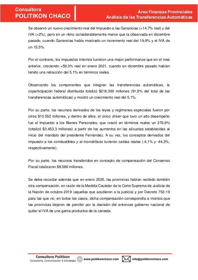 Informe de Transferencias Automáticas de recursos de origen nacional a las provincias y CABA. Enero 2021 Slide 3