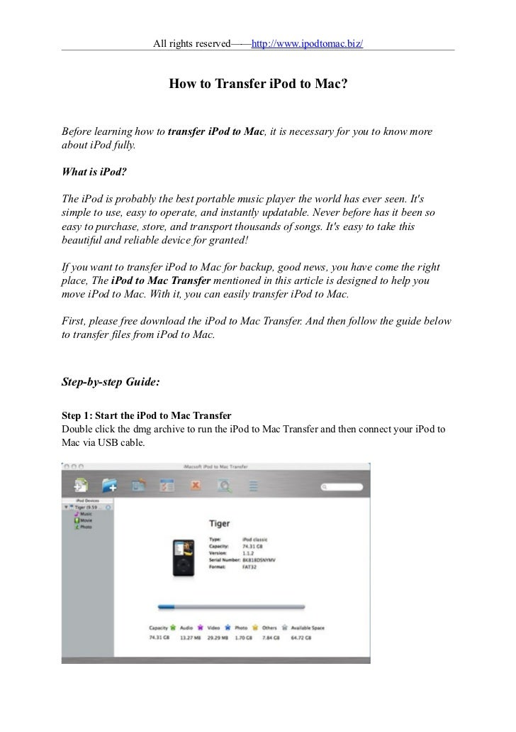 All rights reserved——http://www.ipodtomac.biz/                         How to Transfer iPod to Mac?Before learning how to ...
