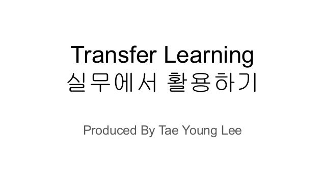 Transfer Learning 실무에서 활용하기 Produced By Tae Young Lee