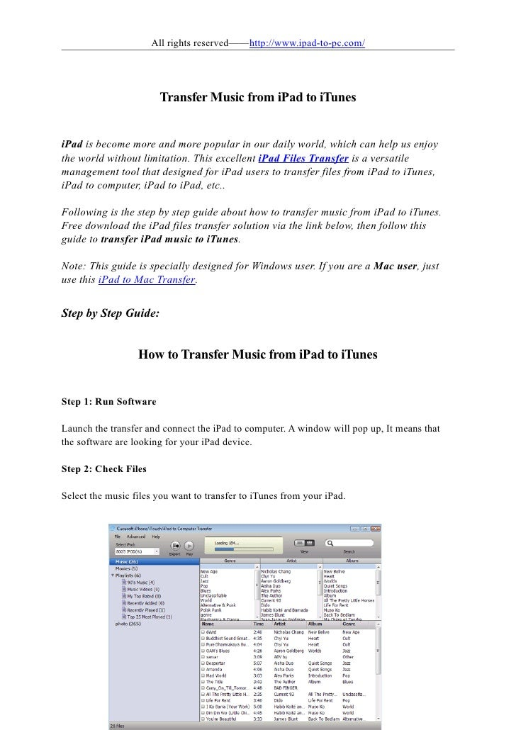 All rights reserved——http://www.ipad-to-pc.com/                            Transfer Music from iPad to iTunes   iPad is be...