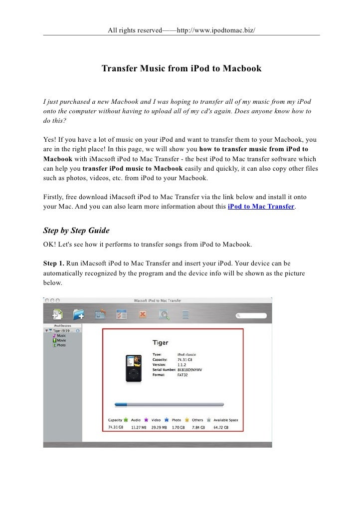 All rights reserved——http://www.ipodtomac.biz/                    Transfer Music from iPod to MacbookI just purchased a ne...