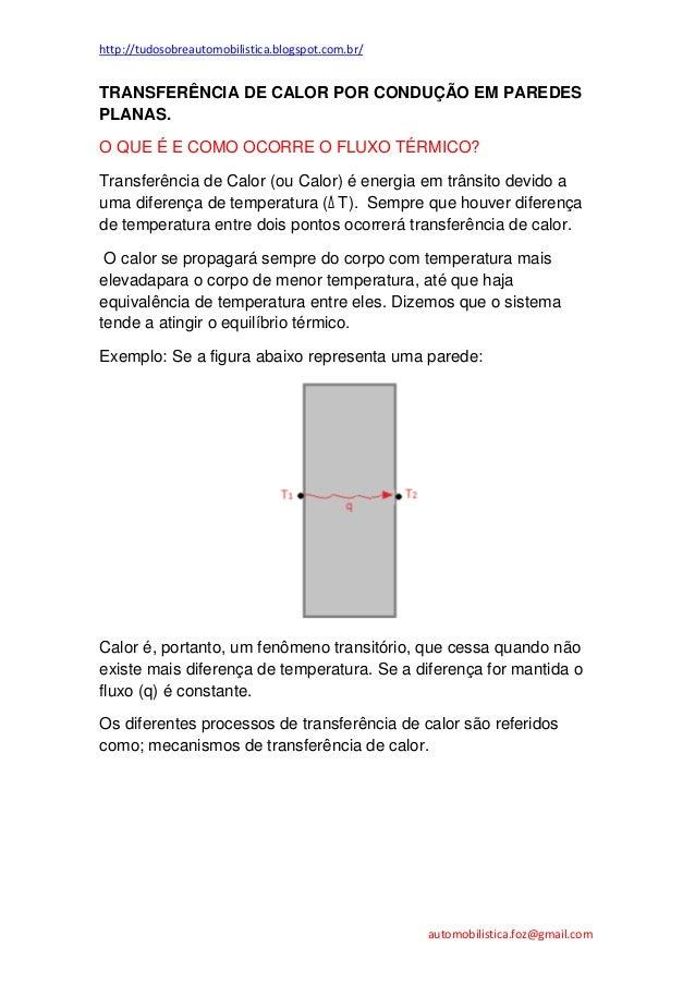 http://tudosobreautomobilistica.blogspot.com.br/  TRANSFERÊNCIA DE CALOR POR CONDUÇÃO EM PAREDES PLANAS. O QUE É E COMO OC...