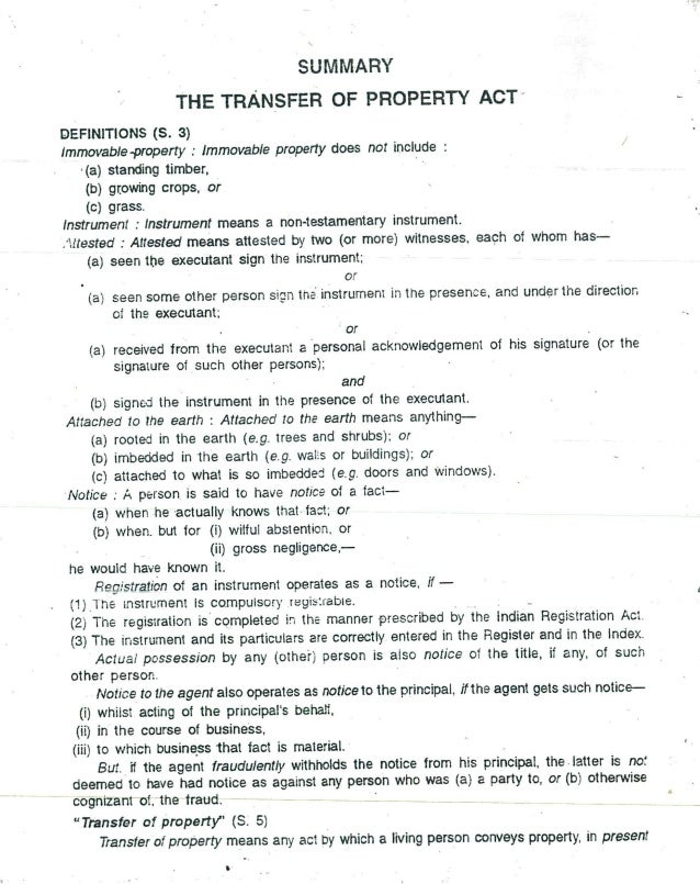 Transfer of property act short notes llb