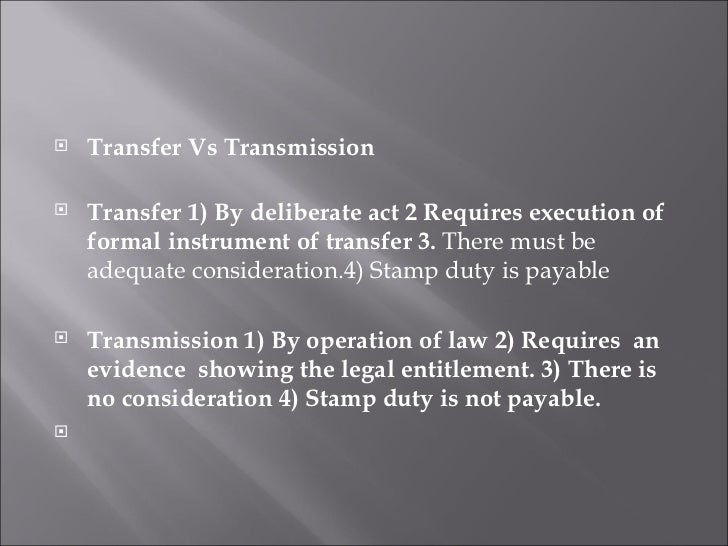 transfer of shares Objective in this task, you will learn how to prepare the documents to transfer ownership of shares from one party to another by the end of this task, you will be.