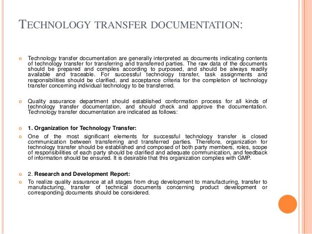 Transfer of technology and project planning and management