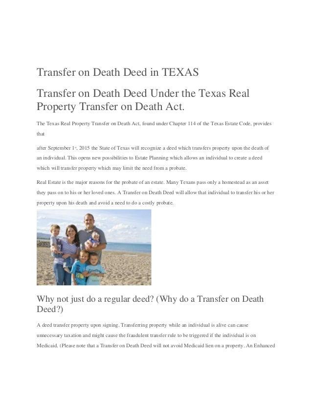 Transfer on death deed in Texas