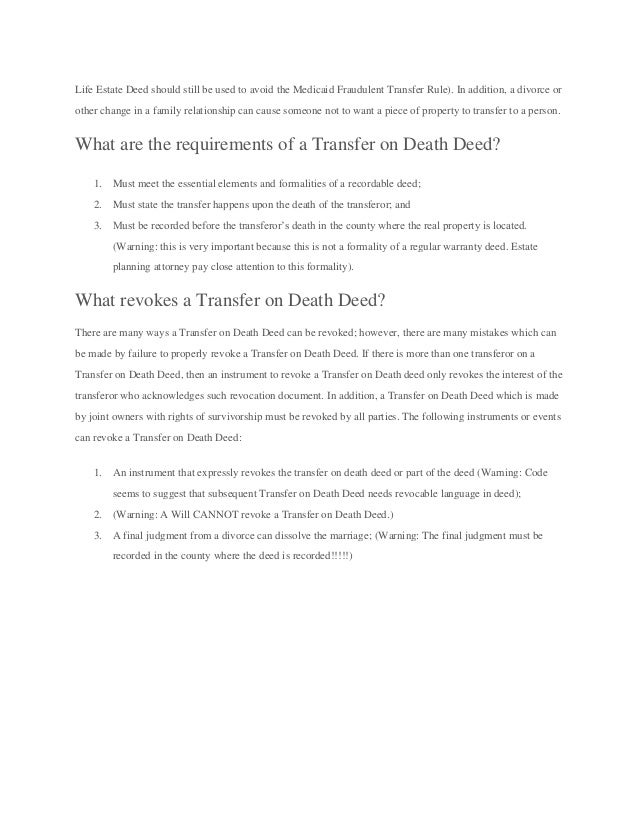 How do you transfer a deed on death without probate?