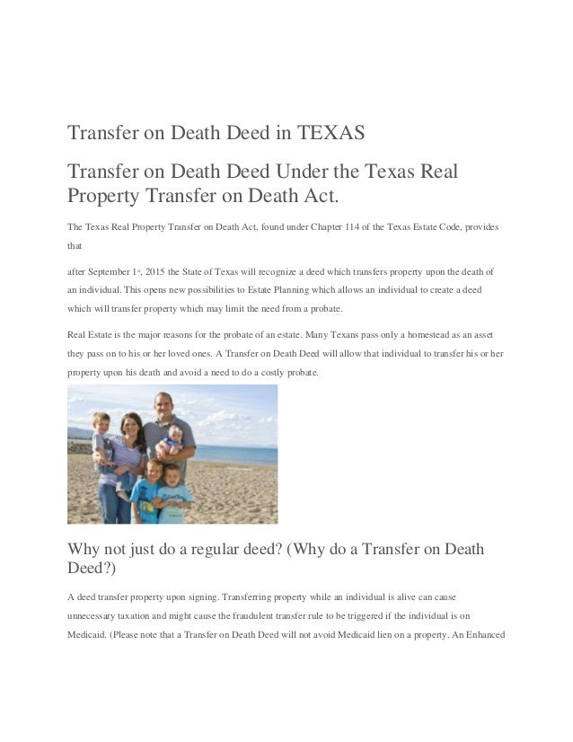Transfer on death deed in Texas- Willprobateattorneys