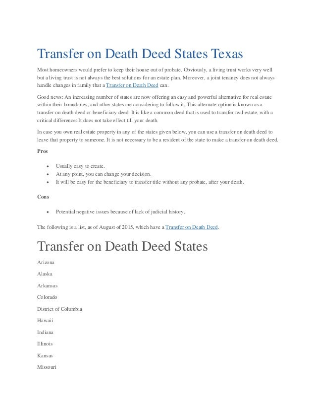 Transfer on Death Deed States Texas- Willprobateattorneys