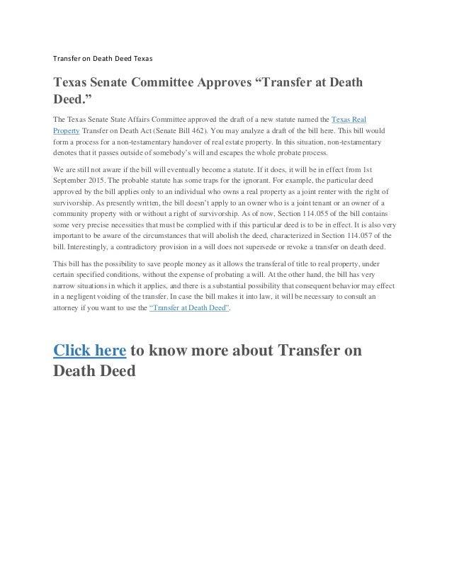 Transfer on death deed texas