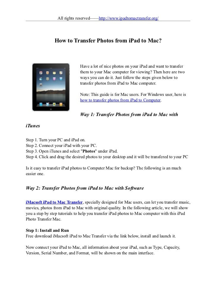 All rights reserved——http://www.ipadtomactransfer.org/                How to Transfer Photos from iPad to Mac?            ...