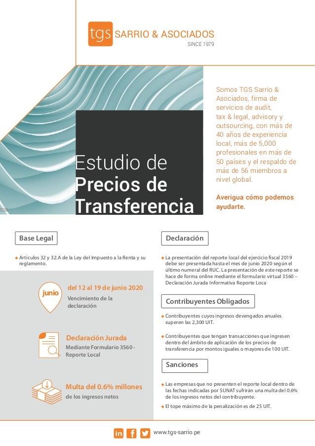 Estudio de Precios de Transferencia Somos TGS Sarrio & Asociados, firma de servicios de audit, tax & legal, advisory y out...