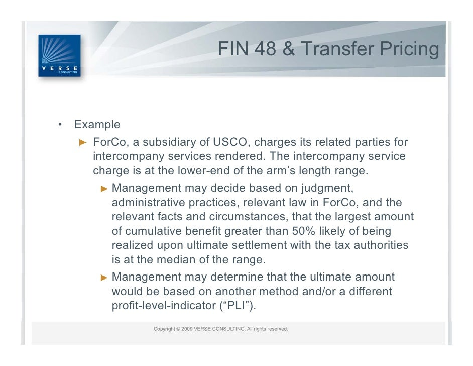 Transfer Pricing And FIN 48 A Practical Approach