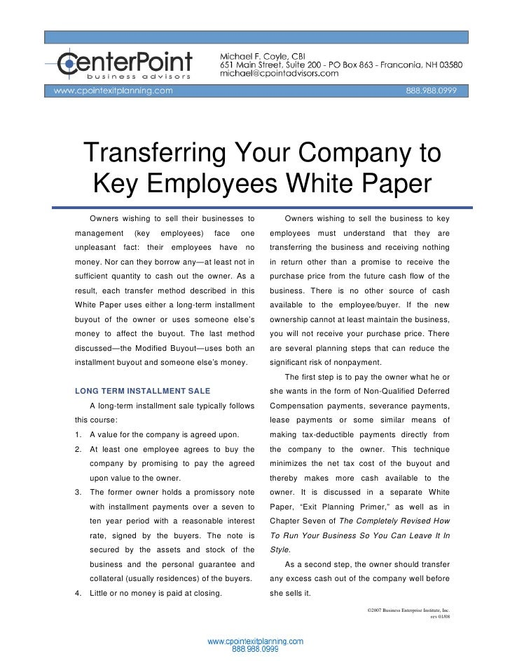 Transferring Your Company to    Key Employees White Paper     Owners wishing to sell their businesses to           Owners ...