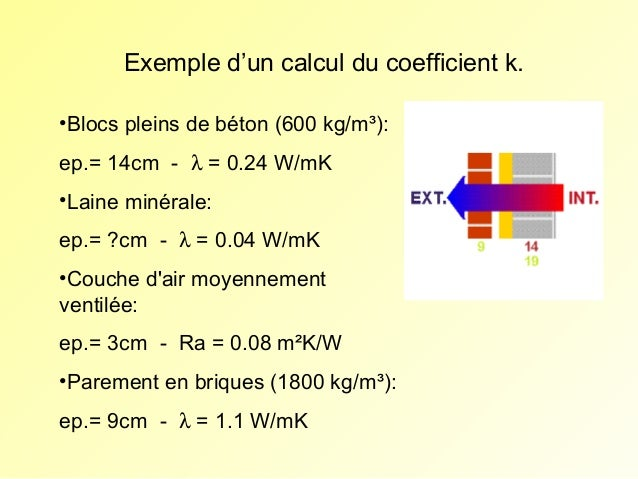 Exemple d'un calcul du coefficient k. •Blocs pleins de béton (600 kg/m³): ep.= 14cm - λ = 0.24 W/mK •Laine minérale: ep.= ...