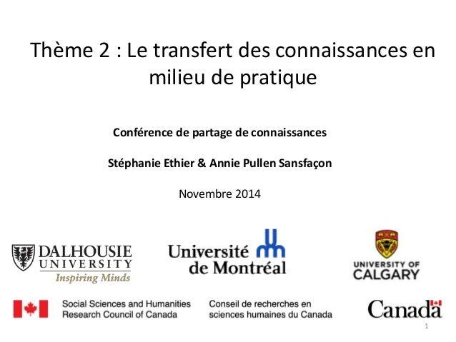 Thème 2 : Le transfert des connaissances en milieu de pratique Conférence de partage de connaissances Stéphanie Ethier & A...