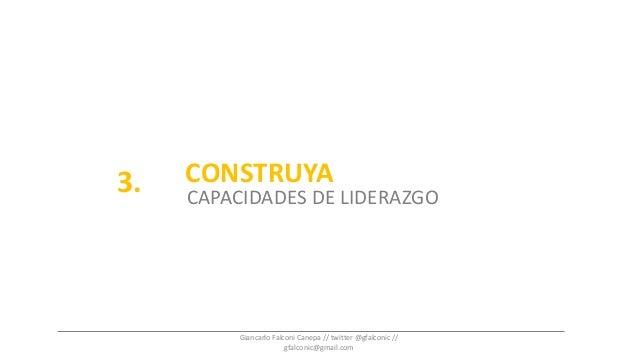 CONSTRUYA CAPACIDADES DE LIDERAZGO 3. Giancarlo Falconi Canepa // twitter @gfalconic // gfalconic@gmail.com