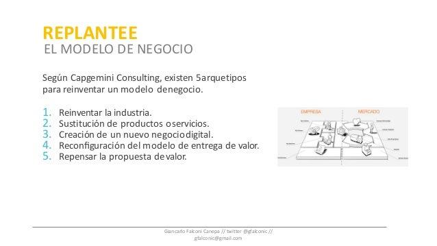 Según Capgemini Consulting, existen 5arquetipos para reinventar un modelo denegocio. 1. Reinventar la industria. 2. Sustit...
