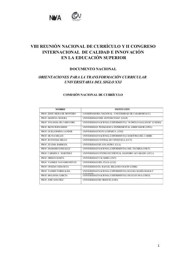 VIII REUNIÓN NACIONAL DE CURRÍCULO Y II CONGRESO INTERNACIONAL DE CALIDAD E INNOVACIÓN EN LA EDUCACIÓN SUPERIOR DOCUMENTO ...