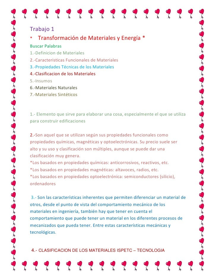 Trabajo 1                  *     Transformación de Materiales y Energía *         Buscar Palabras1.-Definicion de Material...