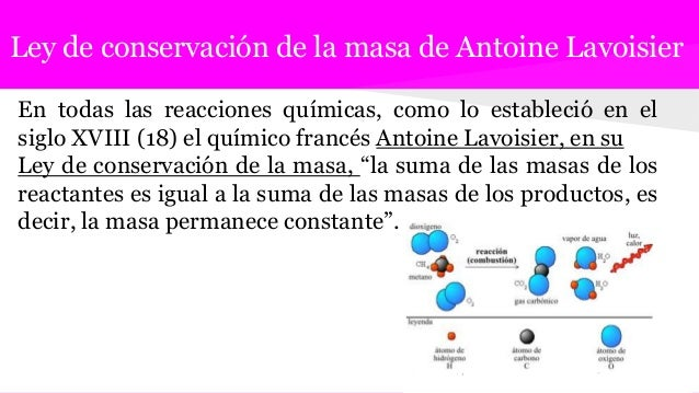 Ley de conservación de la masa de Antoine Lavoisier En todas las reacciones químicas, como lo estableció en el siglo XVIII...