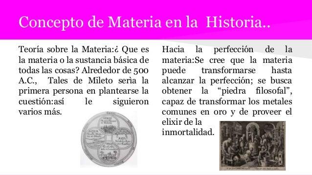 Concepto de Materia en la Historia.. Teoría sobre la Materia:¿ Que es la materia o la sustancia básica de todas las cosas?...