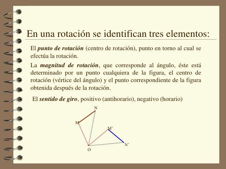 En una rotación se identifican tres elementos:<br />El punto de rotación (centro de rotación), punto en torno al cual se e...