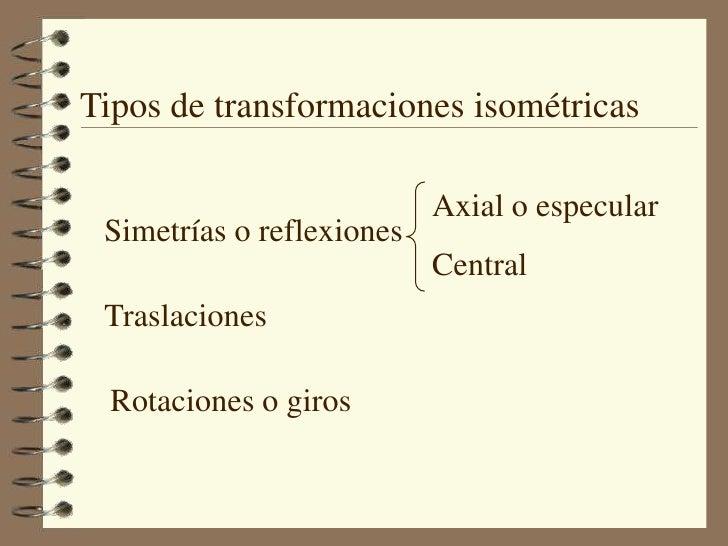 Tipos de transformaciones isométricas<br />Axial o especular<br />Central<br />Simetrías o reflexiones<br />Traslaciones<b...