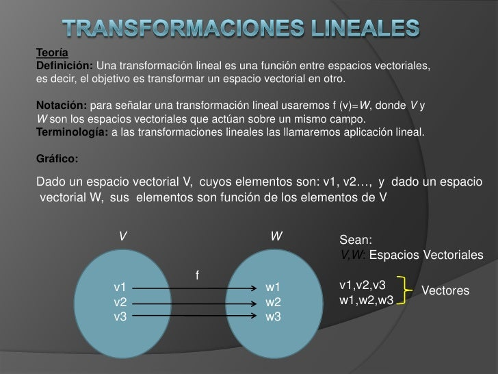 Teoría Definición: Una transformación lineal es una función entre espacios vectoriales, es decir, el objetivo es transform...