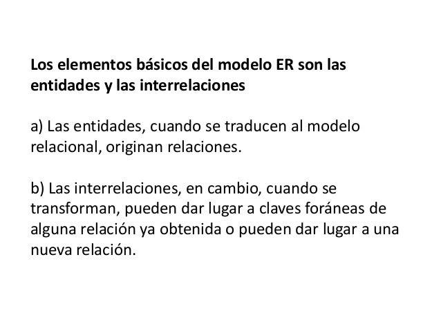 Los elementos básicos del modelo ER son las entidades y las interrelaciones a) Las entidades, cuando se traducen al modelo...