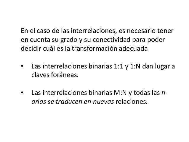 En el caso de las interrelaciones, es necesario tener en cuenta su grado y su conectividad para poder decidir cuál es la t...