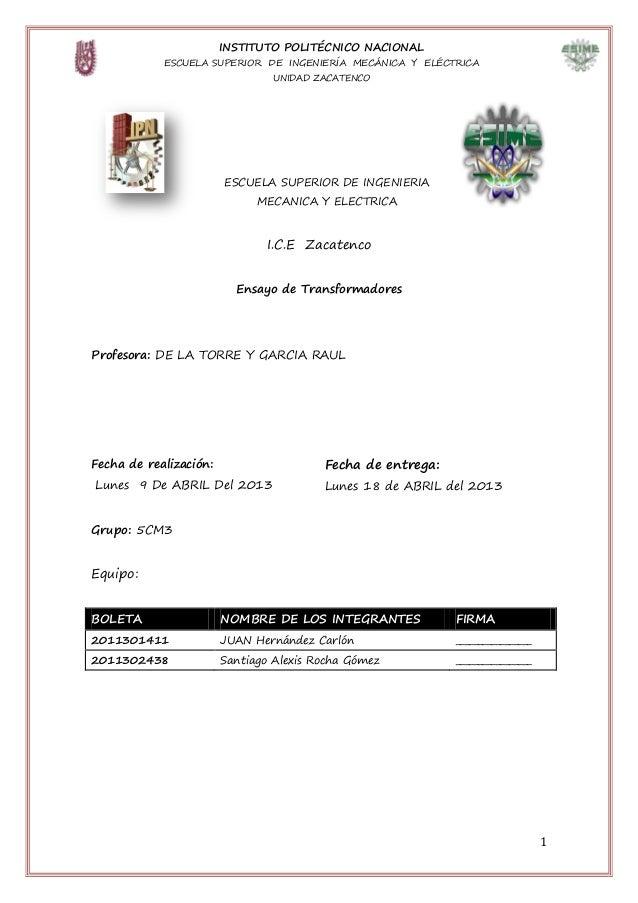 INSTITUTO POLITÉCNICO NACIONAL            ESCUELA SUPERIOR DE INGENIERÍA MECÁNICA Y ELÉCTRICA                             ...