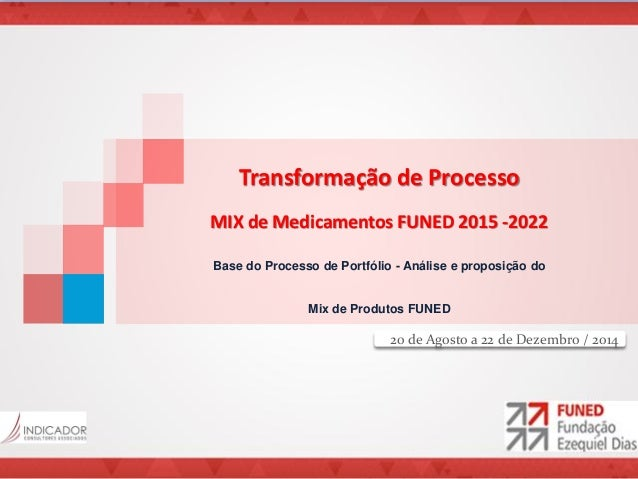 Transformação de Processo MIX de Medicamentos FUNED 2015 -2022 Base do Processo de Portfólio - Análise e proposição do Mix...