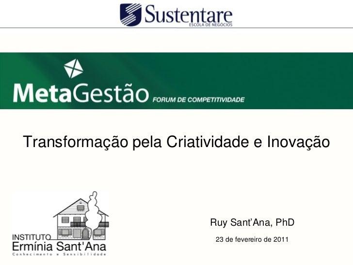 Transformação pela Criatividade e Inovação                         Ruy Sant'Ana, PhD                          23 de fevere...