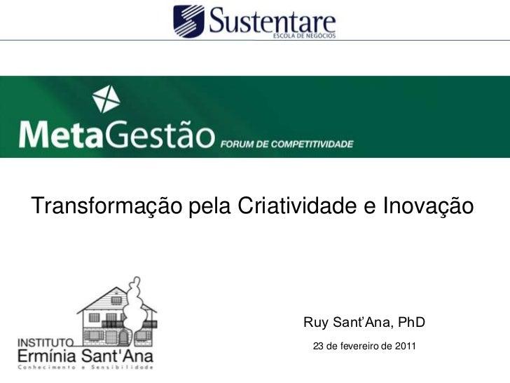 Transformação pela Criatividade e Inovação<br />Ruy Sant'Ana, PhD<br />23 de fevereiro de 2011<br />